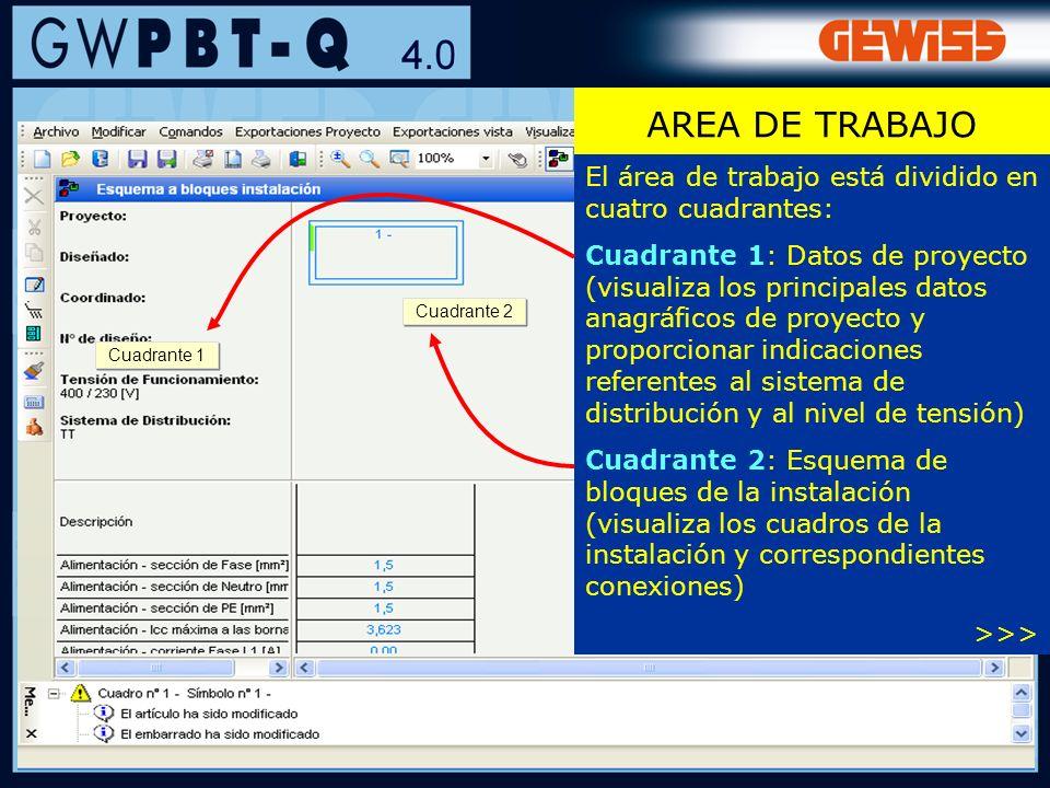 AREA DE TRABAJO El área de trabajo está dividido en cuatro cuadrantes: