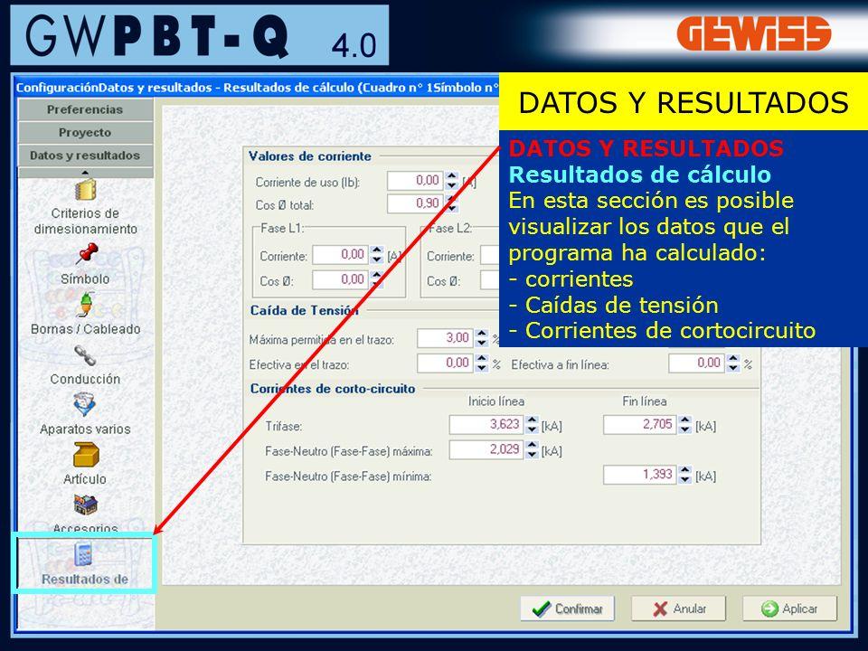 DATOS Y RESULTADOS DATOS Y RESULTADOS Resultados de cálculo