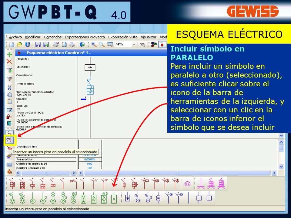 ESQUEMA ELÉCTRICO Incluir símbolo en PARALELO