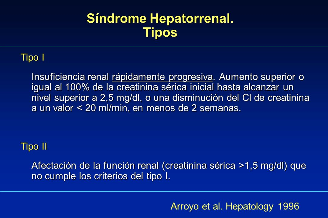 Síndrome Hepatorrenal. Tipos