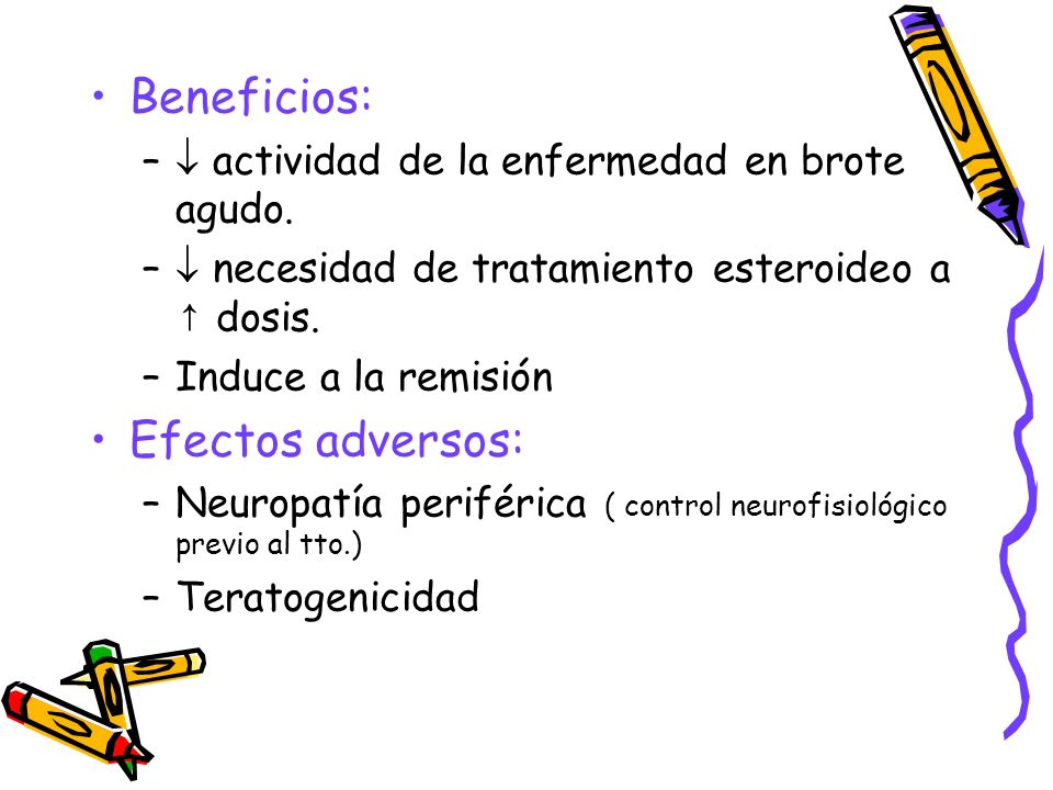Beneficios: Efectos adversos: