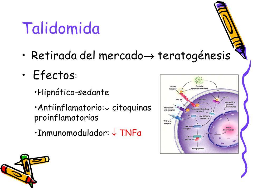 Talidomida Retirada del mercado teratogénesis Efectos: