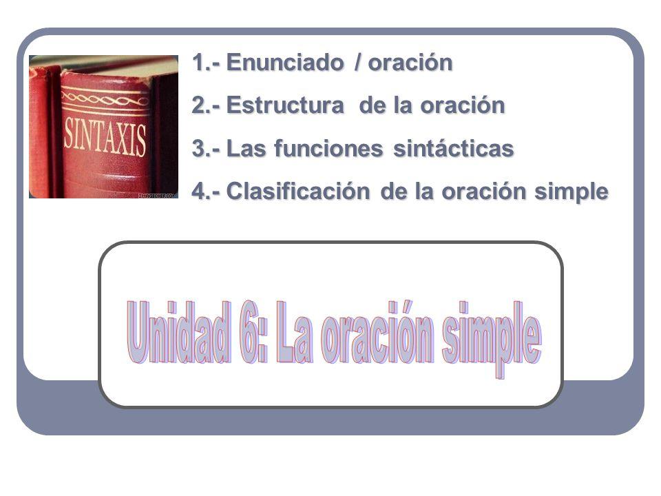 Unidad 6: La oración simple