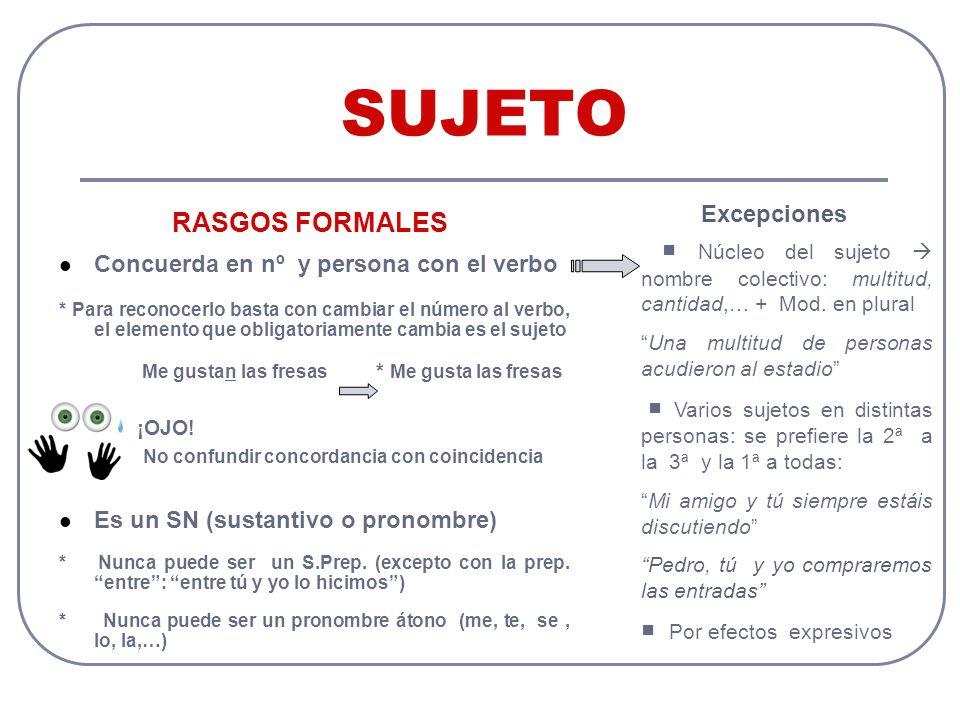 SUJETO RASGOS FORMALES Excepciones