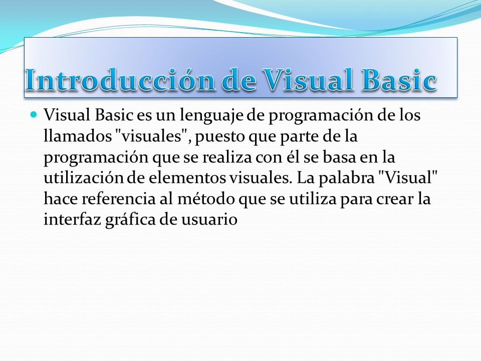 Introducción de Visual Basic