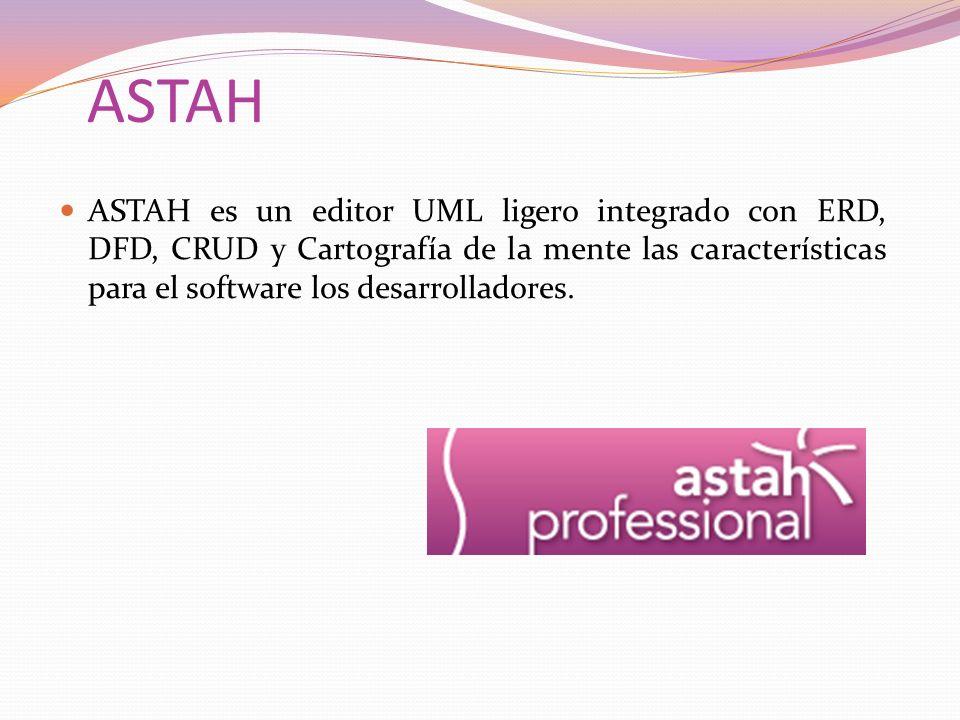 ASTAH ASTAH es un editor UML ligero integrado con ERD, DFD, CRUD y Cartografía de la mente las características para el software los desarrolladores.