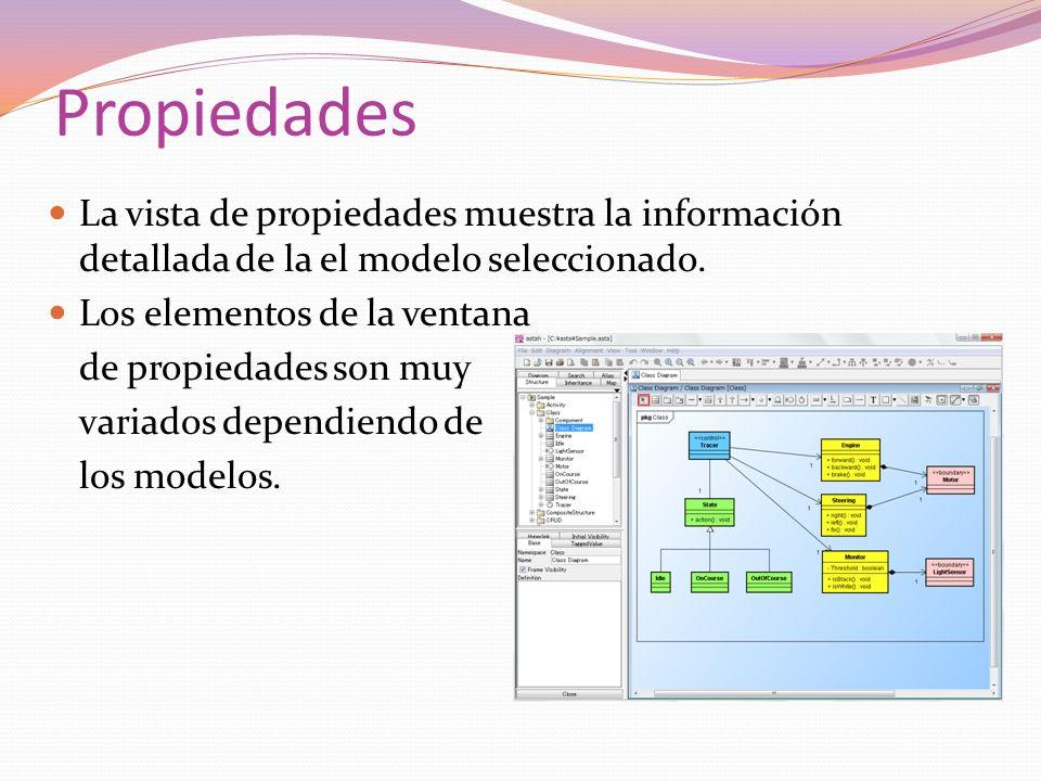 Propiedades La vista de propiedades muestra la información detallada de la el modelo seleccionado. Los elementos de la ventana.