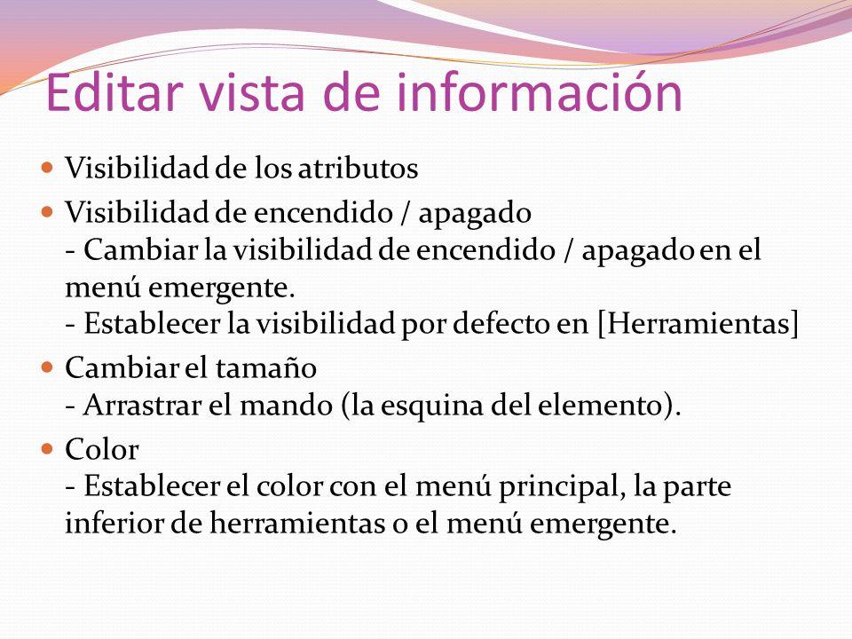 Editar vista de información