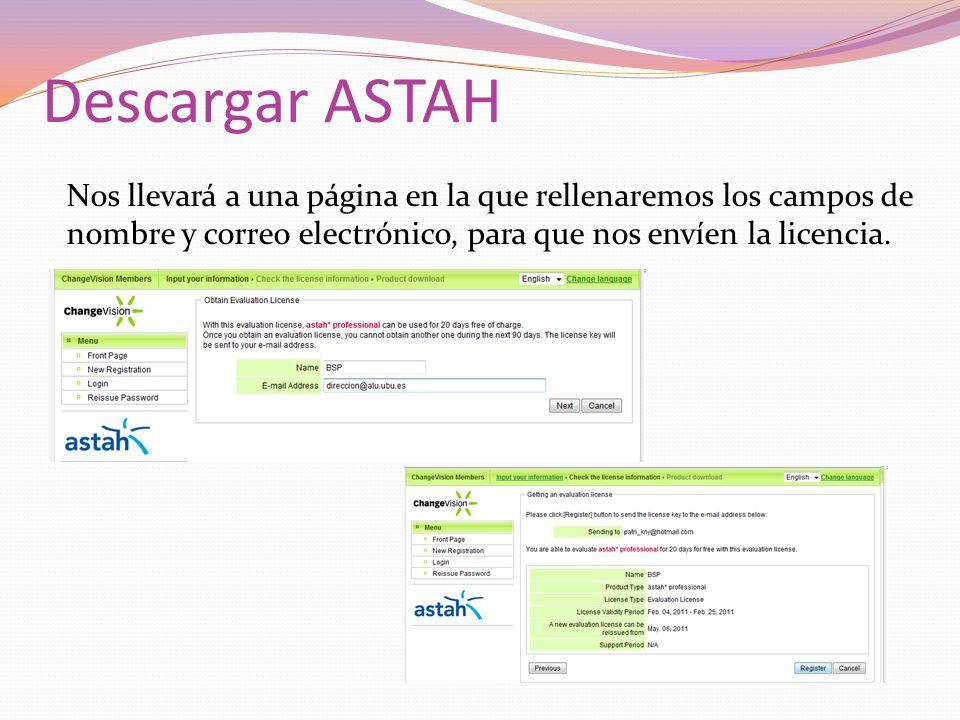Descargar ASTAH Nos llevará a una página en la que rellenaremos los campos de nombre y correo electrónico, para que nos envíen la licencia.