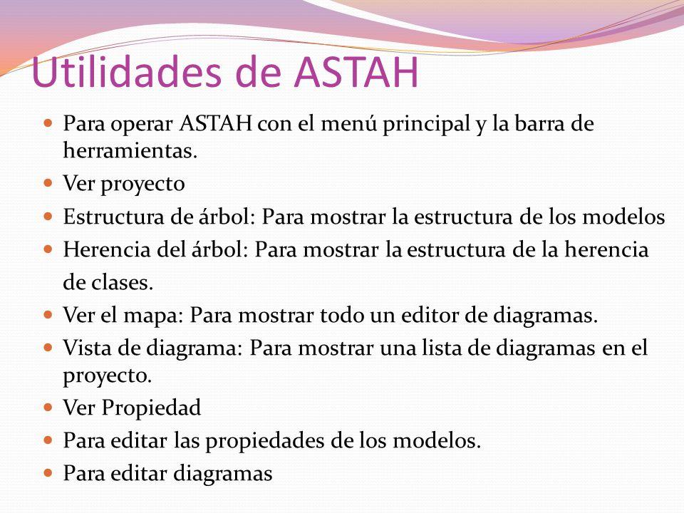 Utilidades de ASTAH Para operar ASTAH con el menú principal y la barra de herramientas. Ver proyecto.