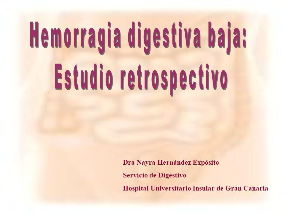 Hemorragia digestiva baja: Estudio retrospectivo