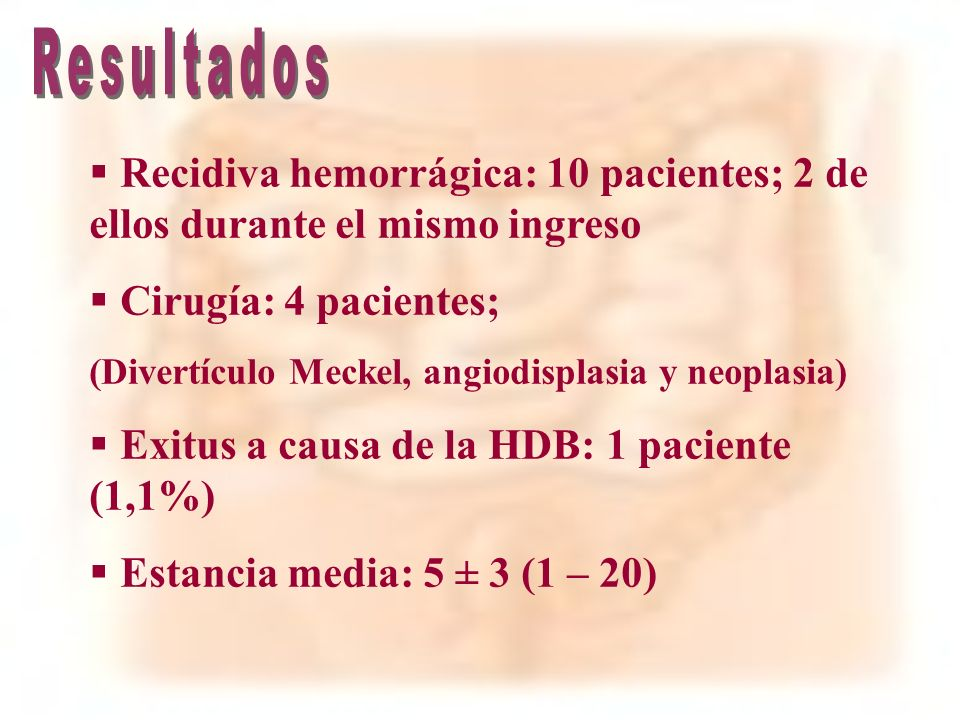 ResultadosRecidiva hemorrágica: 10 pacientes; 2 de ellos durante el mismo ingreso. Cirugía: 4 pacientes;