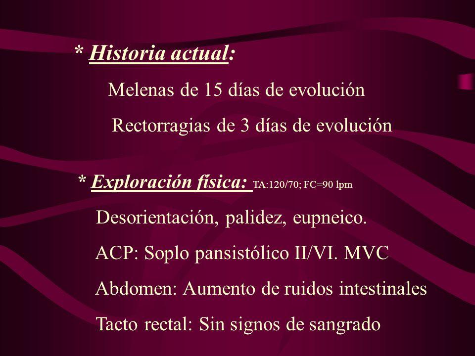 * Historia actual: Rectorragias de 3 días de evolución