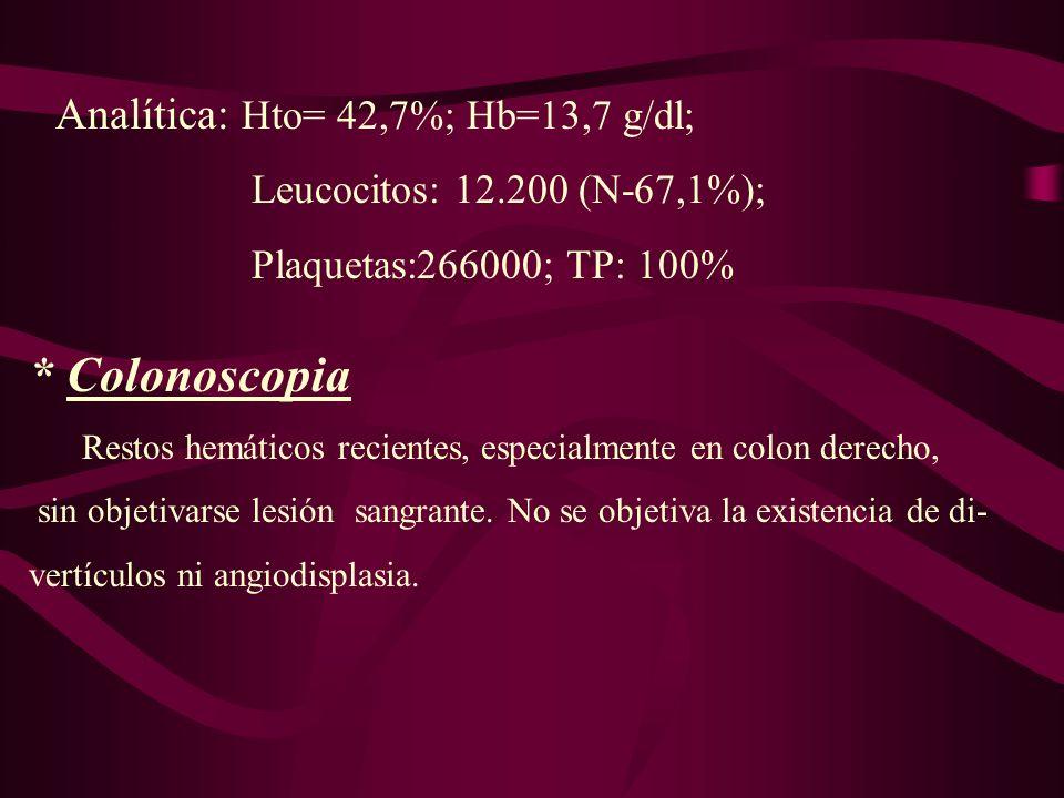 * Colonoscopia Analítica: Hto= 42,7%; Hb=13,7 g/dl;