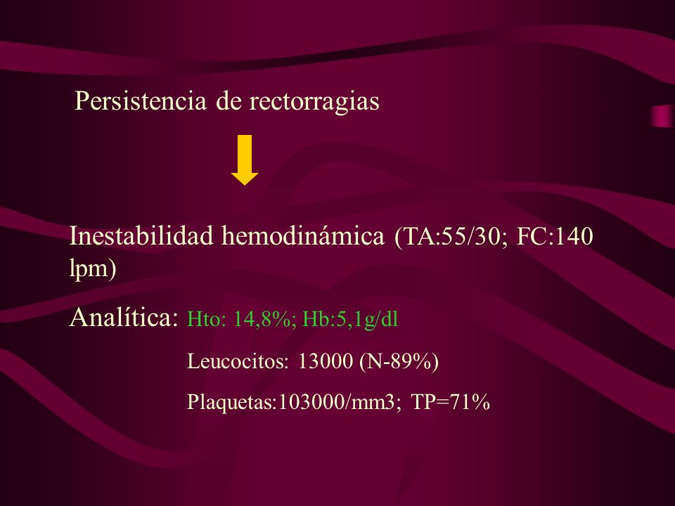 Inestabilidad hemodinámica (TA:55/30; FC:140 lpm)