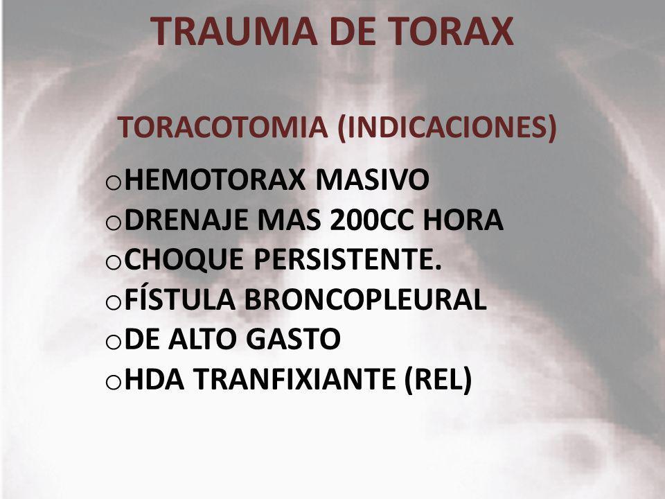 TORACOTOMIA (INDICACIONES)