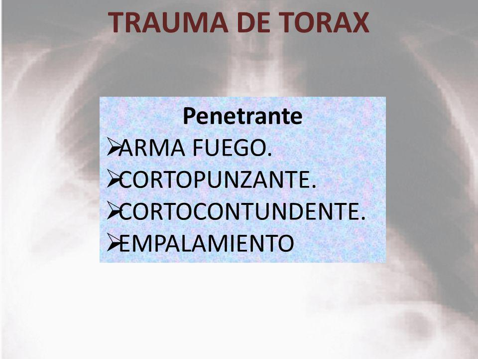 TRAUMA DE TORAX Penetrante ARMA FUEGO. CORTOPUNZANTE.