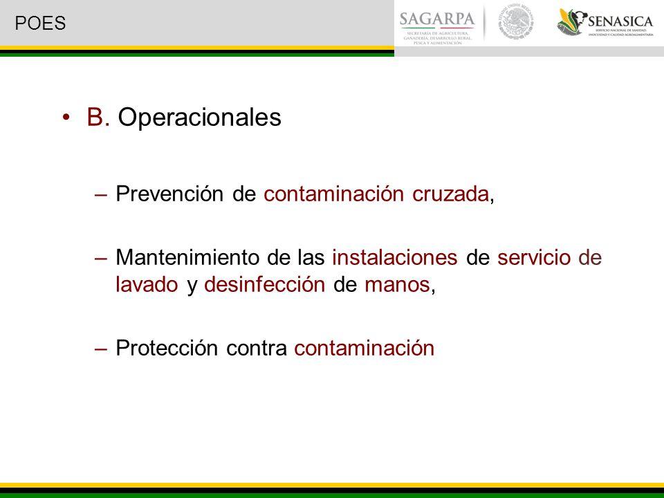 B. Operacionales Prevención de contaminación cruzada,