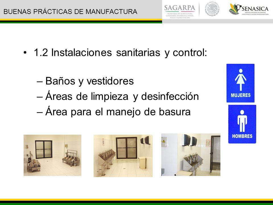 1.2 Instalaciones sanitarias y control: Baños y vestidores