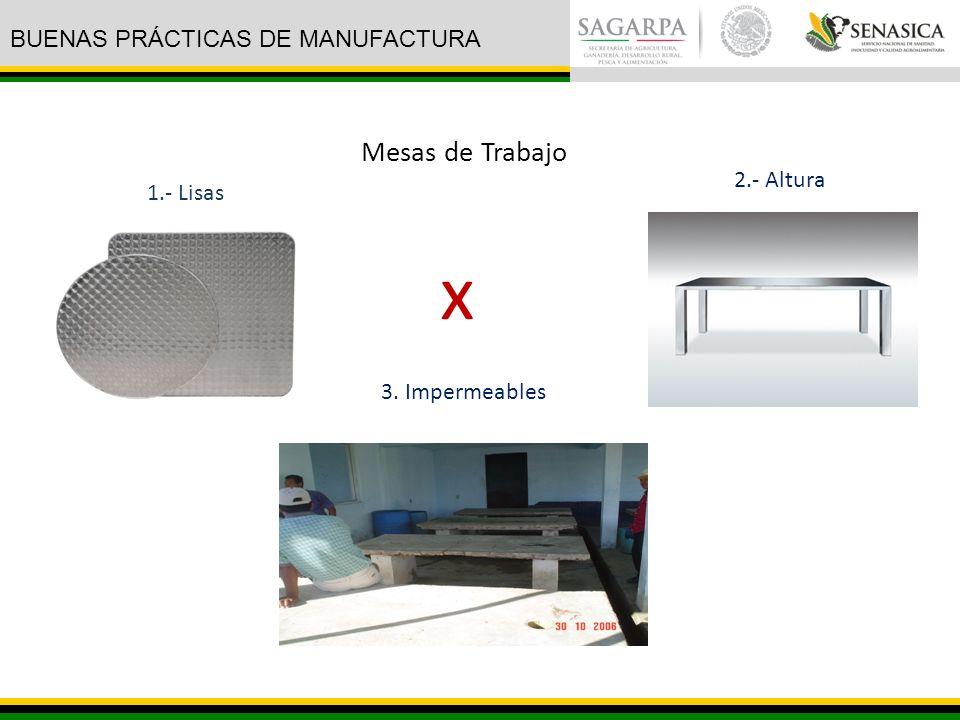 x Mesas de Trabajo BUENAS PRÁCTICAS DE MANUFACTURA 2.- Altura