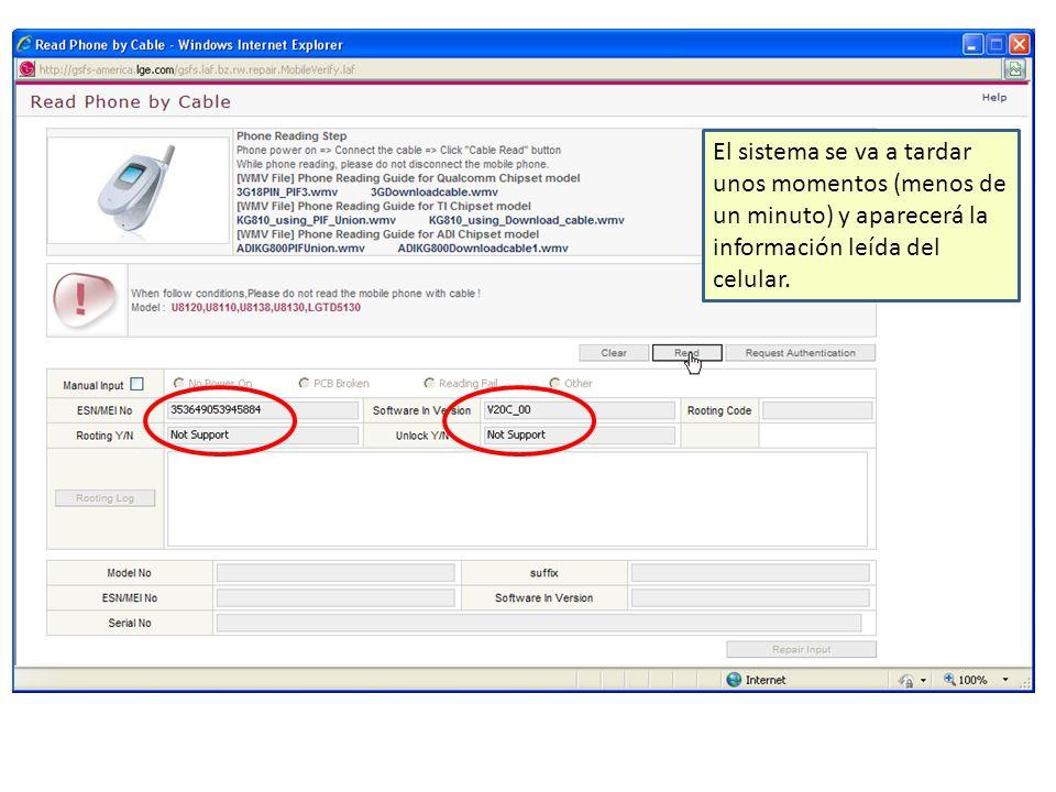 El sistema se va a tardar unos momentos (menos de un minuto) y aparecerá la información leída del celular.