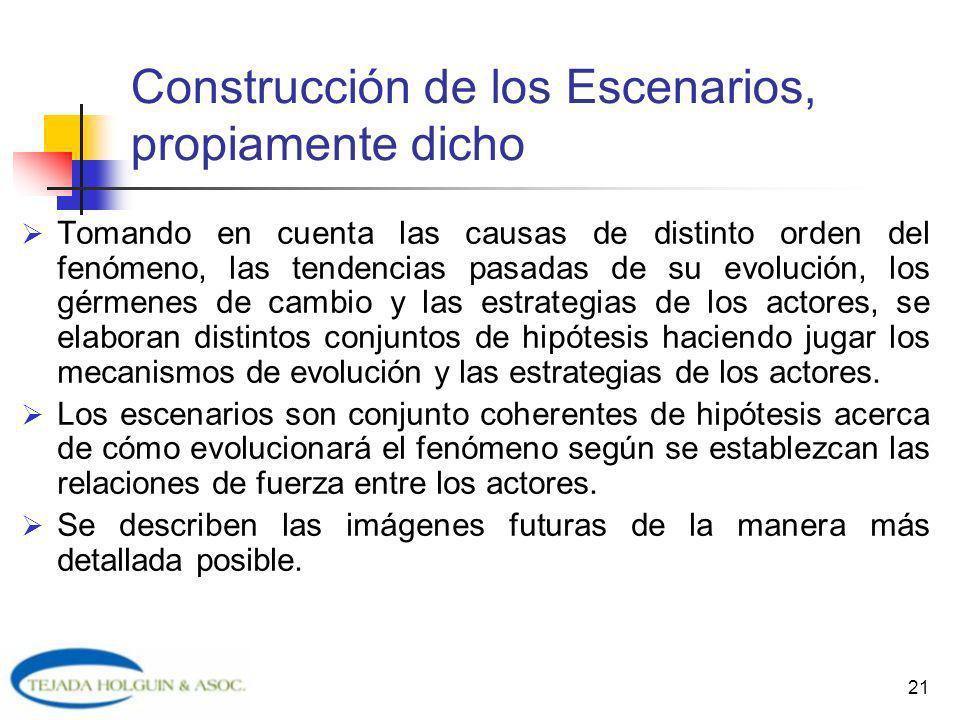 Construcción de los Escenarios, propiamente dicho