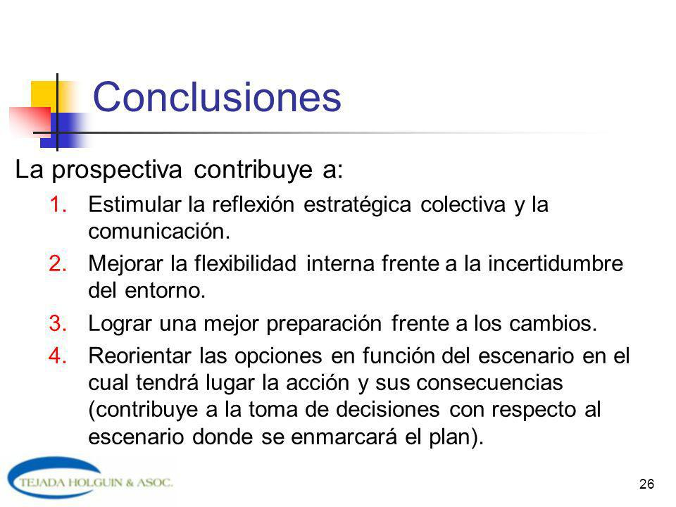 Conclusiones La prospectiva contribuye a: