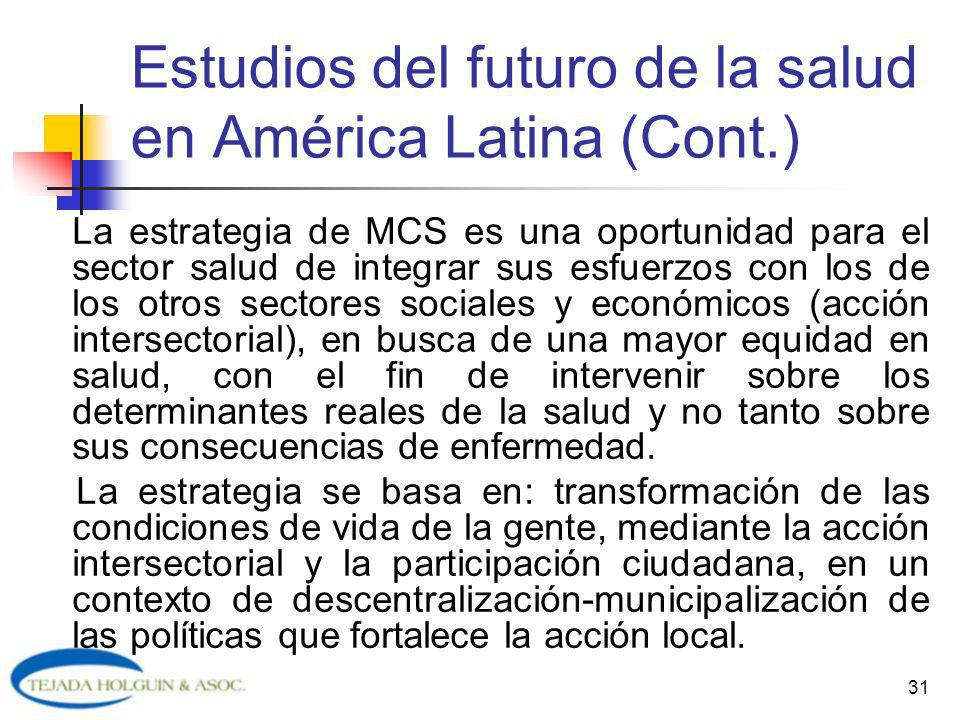 Estudios del futuro de la salud en América Latina (Cont.)