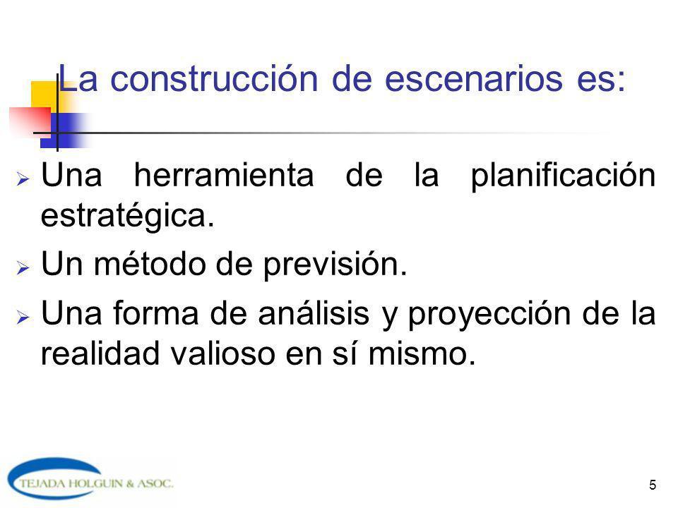 La construcción de escenarios es: