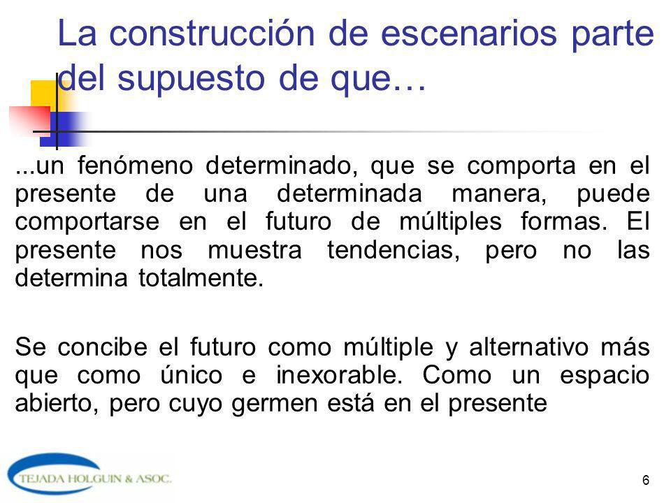 La construcción de escenarios parte del supuesto de que…