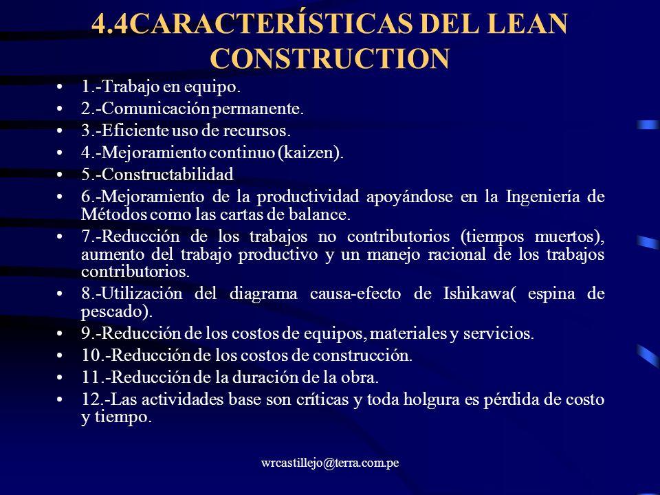 4.4CARACTERÍSTICAS DEL LEAN CONSTRUCTION