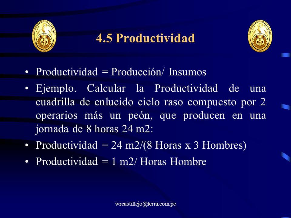 4.5 Productividad Productividad = Producción/ Insumos