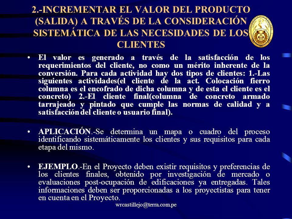 2.-INCREMENTAR EL VALOR DEL PRODUCTO (SALIDA) A TRAVÉS DE LA CONSIDERACIÓN SISTEMÁTICA DE LAS NECESIDADES DE LOS CLIENTES