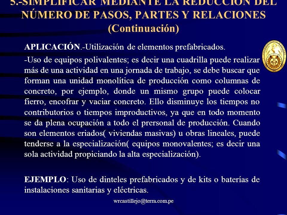 5.-SIMPLIFICAR MEDIANTE LA REDUCCIÓN DEL NÚMERO DE PASOS, PARTES Y RELACIONES (Continuación)