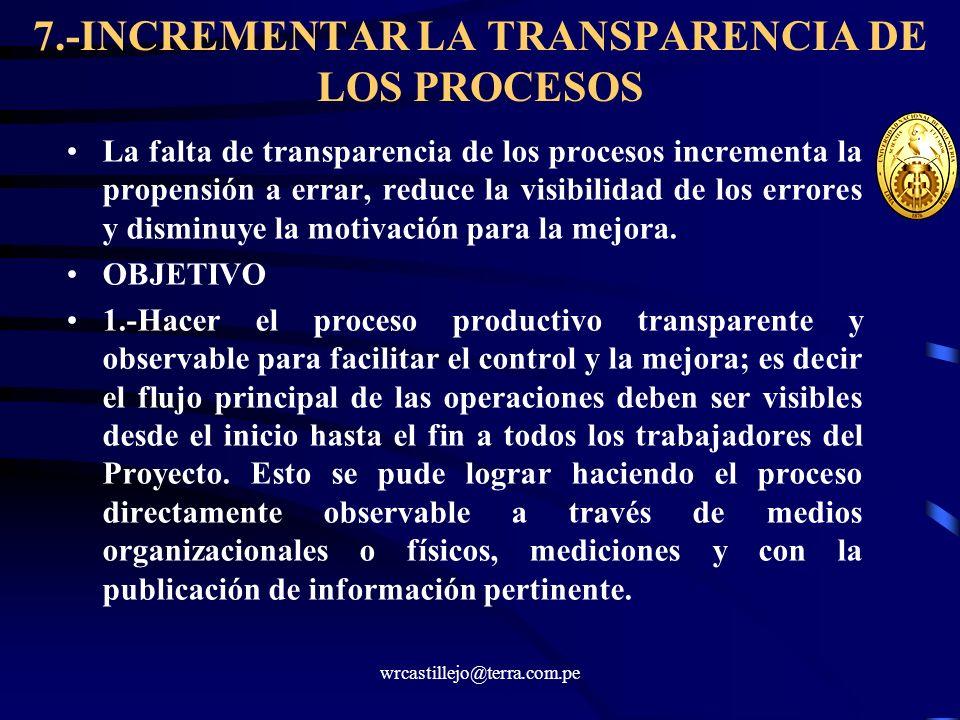 7.-INCREMENTAR LA TRANSPARENCIA DE LOS PROCESOS