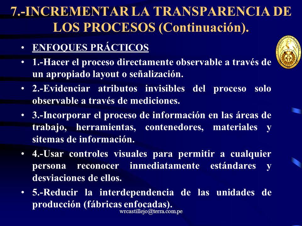 7.-INCREMENTAR LA TRANSPARENCIA DE LOS PROCESOS (Continuación).
