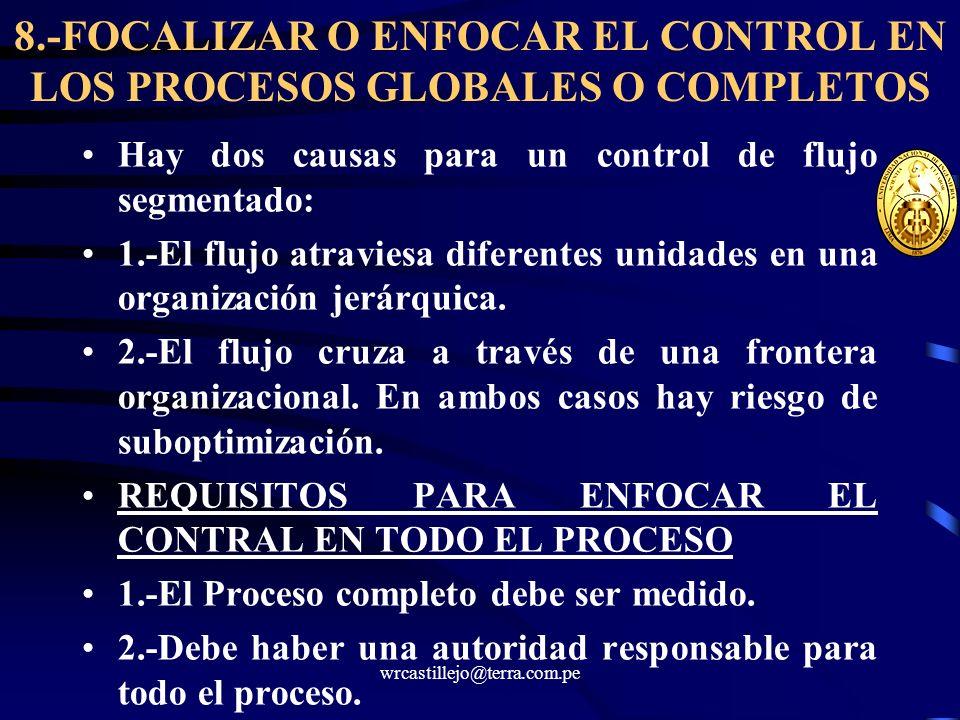 8.-FOCALIZAR O ENFOCAR EL CONTROL EN LOS PROCESOS GLOBALES O COMPLETOS