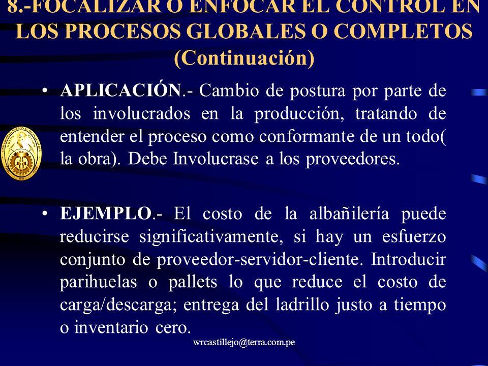 8.-FOCALIZAR O ENFOCAR EL CONTROL EN LOS PROCESOS GLOBALES O COMPLETOS (Continuación)