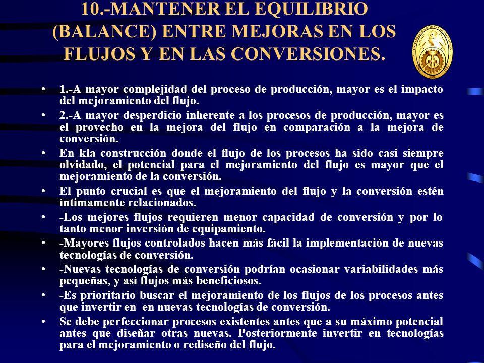 10.-MANTENER EL EQUILIBRIO (BALANCE) ENTRE MEJORAS EN LOS FLUJOS Y EN LAS CONVERSIONES.