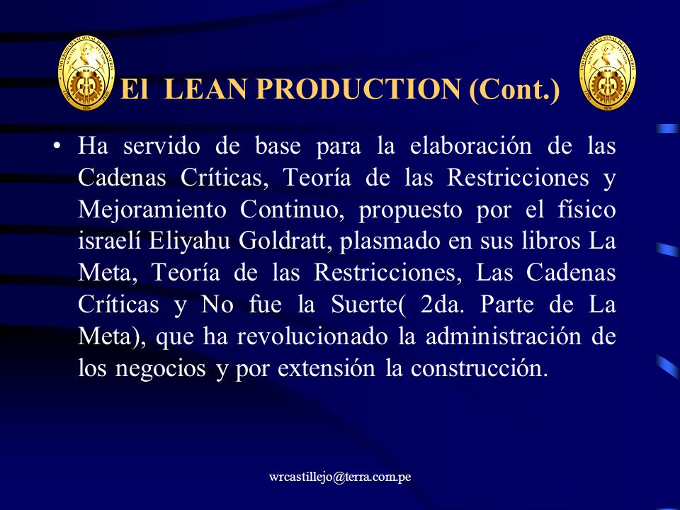 El LEAN PRODUCTION (Cont.)