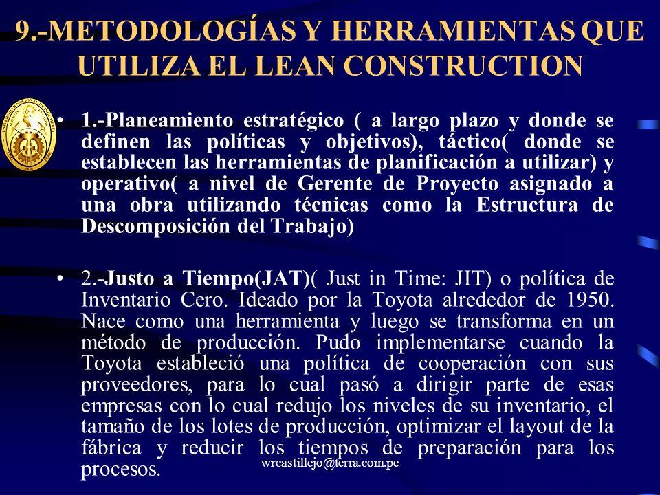 9.-METODOLOGÍAS Y HERRAMIENTAS QUE UTILIZA EL LEAN CONSTRUCTION