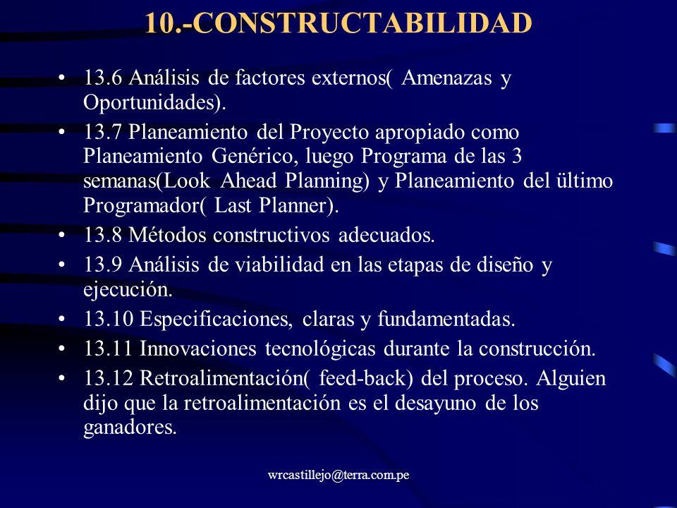 10.-CONSTRUCTABILIDAD 13.6 Análisis de factores externos( Amenazas y Oportunidades).