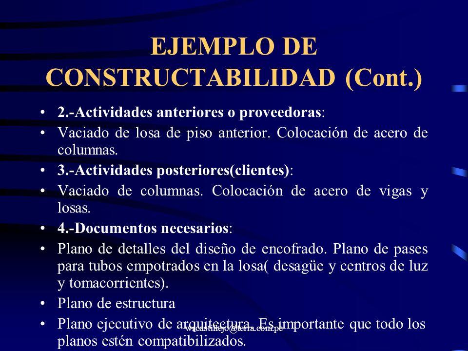 EJEMPLO DE CONSTRUCTABILIDAD (Cont.)