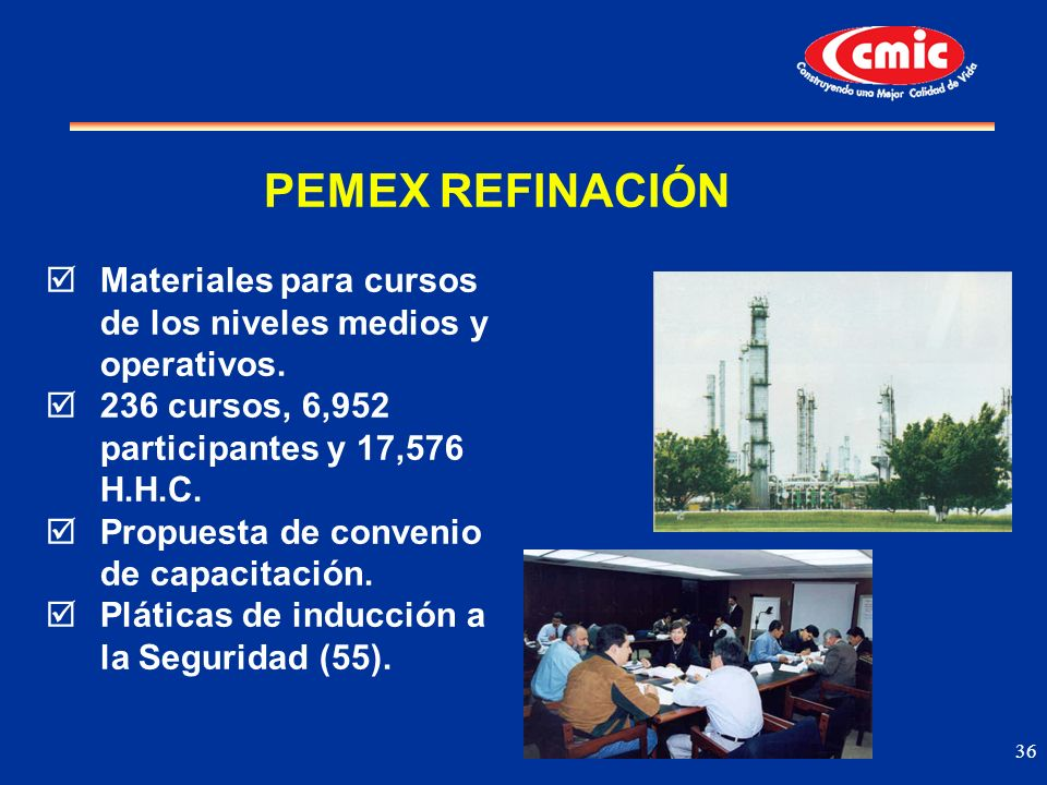 PEMEX REFINACIÓN Materiales para cursos de los niveles medios y operativos. 236 cursos, 6,952 participantes y 17,576 H.H.C.