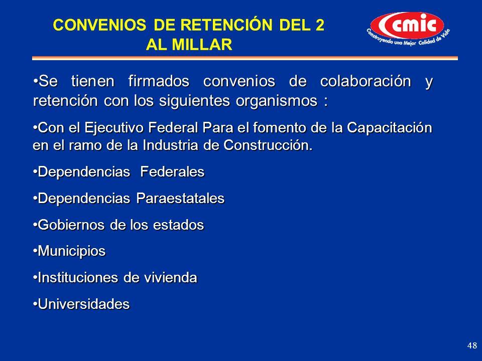 CONVENIOS DE RETENCIÓN DEL 2 AL MILLAR