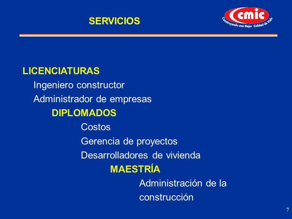 SERVICIOS LICENCIATURAS. Ingeniero constructor. Administrador de empresas. DIPLOMADOS. Costos. Gerencia de proyectos.