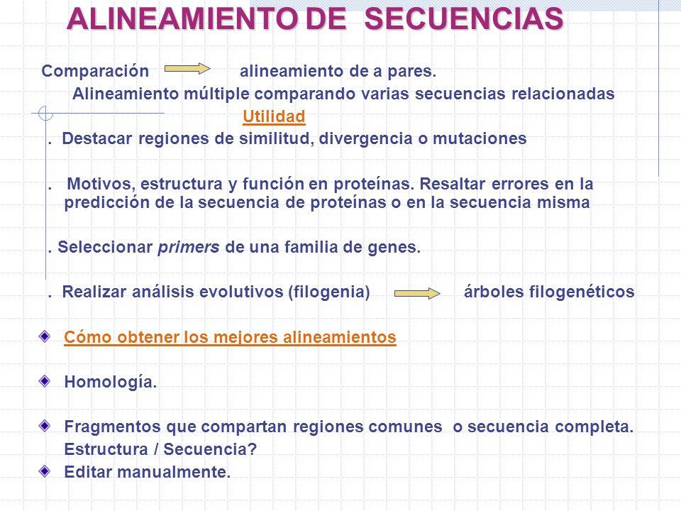 ALINEAMIENTO DE SECUENCIAS