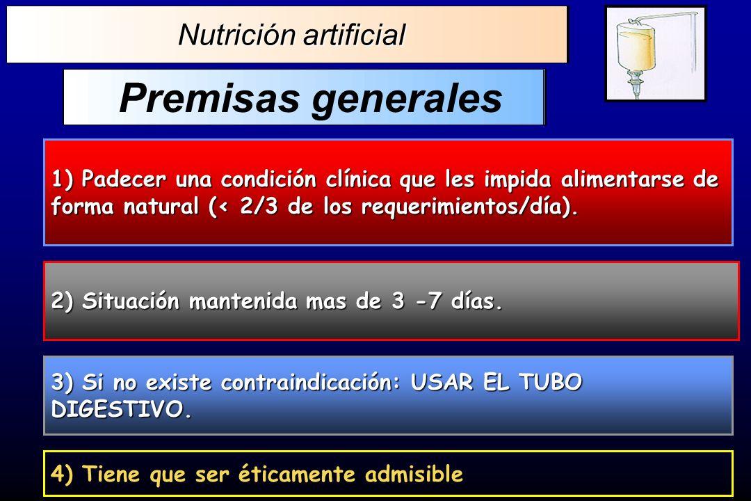 Premisas generales Nutrición artificial