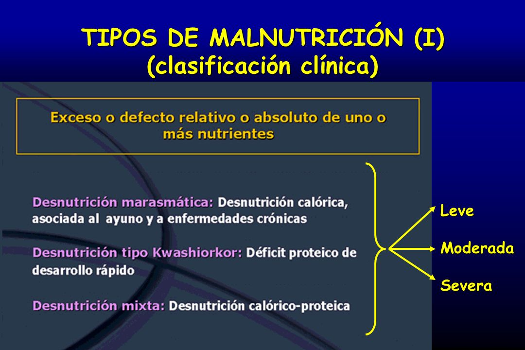TIPOS DE MALNUTRICIÓN (I) (clasificación clínica)