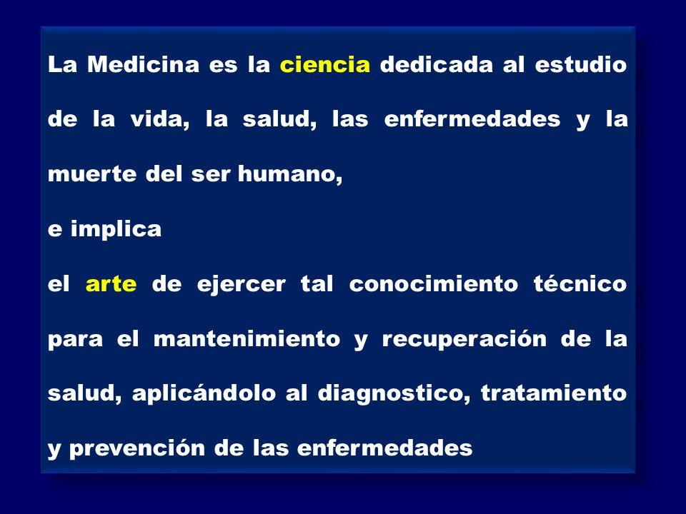 La Medicina es la ciencia dedicada al estudio de la vida, la salud, las enfermedades y la muerte del ser humano,